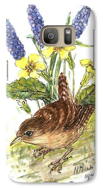 Wren In Primroses  Galaxy S7 Case by Nell Hill