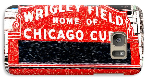 Wrigley Field Chicago Cubs Sign Digital Painting Galaxy S7 Case by Paul Velgos