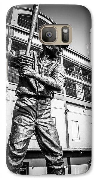 Wrigley Field Ernie Banks Statue In Black And White Galaxy S7 Case by Paul Velgos