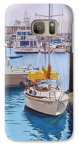 Yellow Sailboat Oceanside Galaxy S7 Case by Mary Helmreich