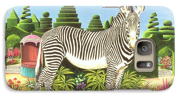 Zebra In A Garden Galaxy Case by Anthony Southcombe
