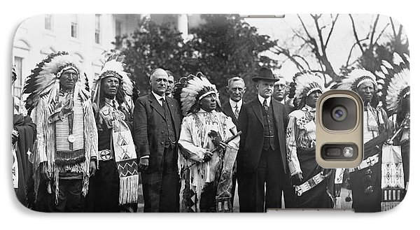 Coolidge With Native Americans Galaxy S7 Case by Photo Researchers
