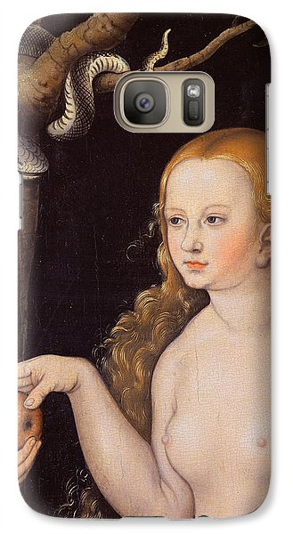 Eve Offering The Apple To Adam In The Garden Of Eden And The Serpent Galaxy Case by Cranach