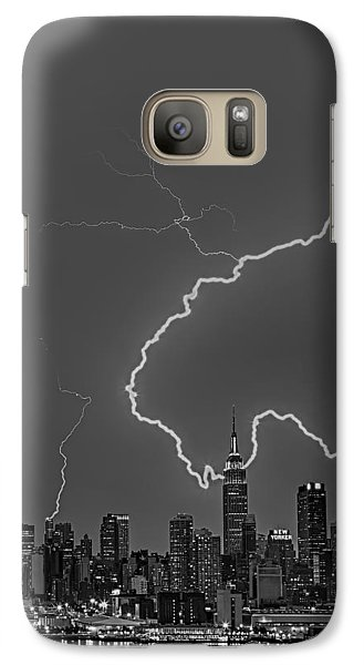 Lightning Bolts Over New York City Bw Galaxy Case by Susan Candelario