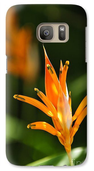 Tropical Orange Heliconia Flower Galaxy Case by Elena Elisseeva