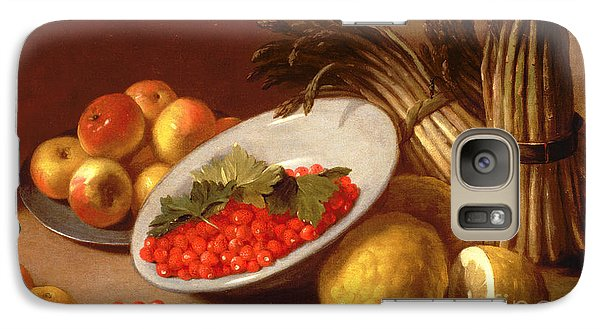 Still Life Of Raspberries Lemons And Asparagus  Galaxy Case by Italian School