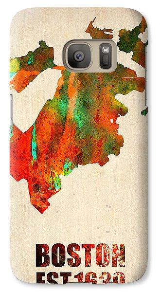 Boston Watercolor Map  Galaxy S7 Case by Naxart Studio