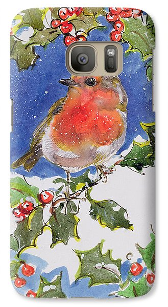 Christmas Robin Galaxy Case by Diane Matthes
