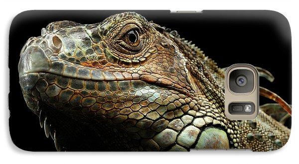 Closeup Green Iguana Isolated On Black Background Galaxy Case by Sergey Taran