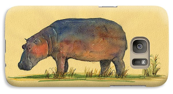 Hippo Watercolor Painting  Galaxy Case by Juan  Bosco