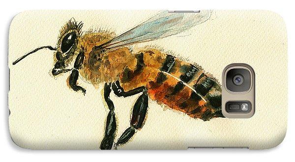 Honey Bee Watercolor Painting Galaxy Case by Juan  Bosco
