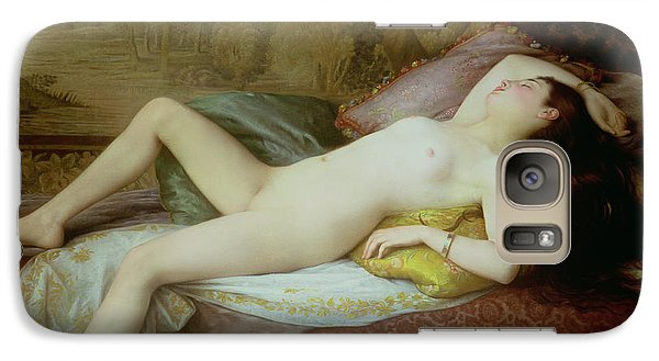 Nude Lying On A Chaise Longue Galaxy Case by Gustave-Henri-Eugene Delhumeau