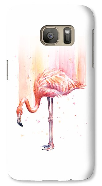 Pink Flamingo Watercolor Rain Galaxy S7 Case by Olga Shvartsur
