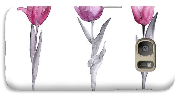 Purple Tulips Watercolor Painting Galaxy Case by Joanna Szmerdt