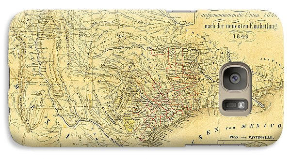 1849 Texas Map Galaxy S7 Case by Bill Cannon