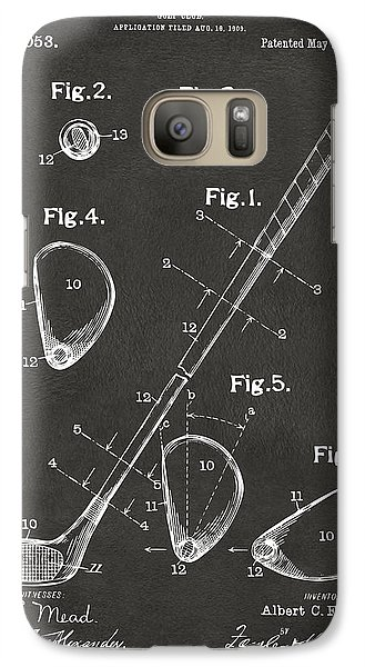 1910 Golf Club Patent Artwork - Gray Galaxy S7 Case by Nikki Marie Smith