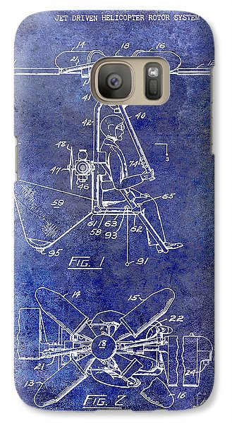 1956 Helicopter Patent Blue Galaxy S7 Case by Jon Neidert