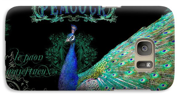 Elegant Peacock W Vintage Scrolls  Galaxy Case by Audrey Jeanne Roberts