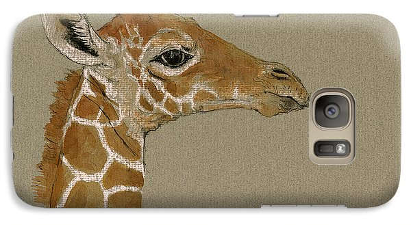 Giraffe Head Study  Galaxy Case by Juan  Bosco
