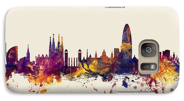 Barcelona Spain Skyline Galaxy Case by Michael Tompsett