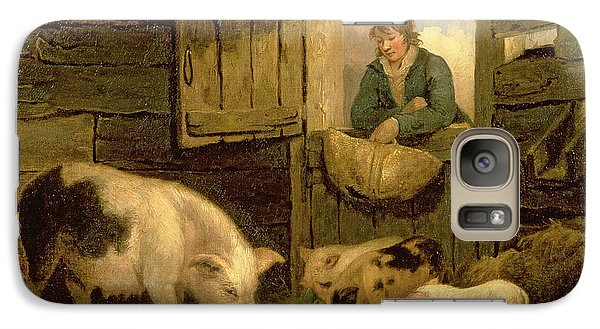 A Boy Looking Into A Pig Sty Galaxy Case by George Morland