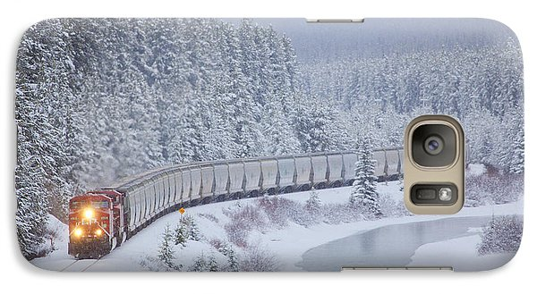 A Canadian Pacific Train Travels Along Galaxy S7 Case by Chris Bolin