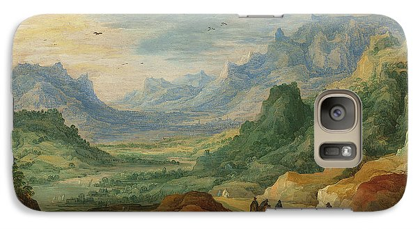 A Mountainous Landscape With Travellers And Herdsmen On A Path Galaxy S7 Case by Jan Brueghel and Joos de Momper