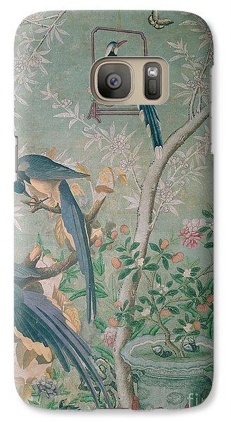 A Pair Of Magpie Jays  Vintage Wallpaper Galaxy Case by John James Audubon