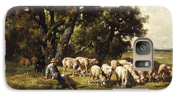 A Shepherd And His Flock Galaxy S7 Case by Charles Emile Jacques