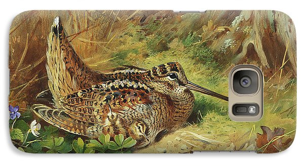 A Woodcock And Chicks Galaxy S7 Case by Archibald Thorburn