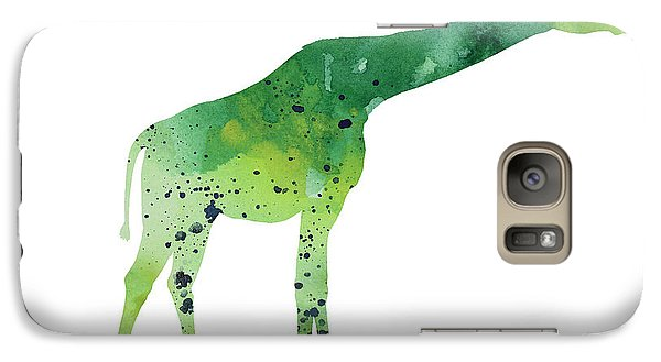 Abstract Green Giraffe Minimalist Painting Galaxy Case by Joanna Szmerdt