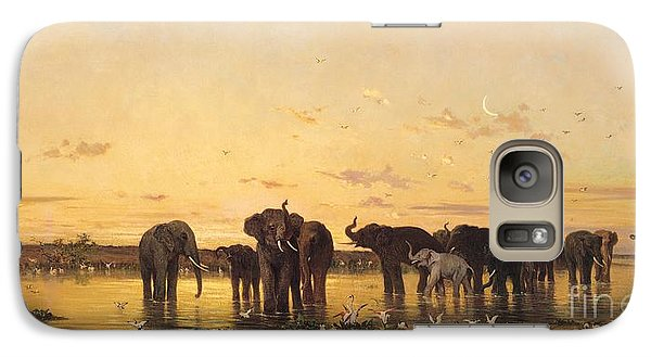 African Elephants Galaxy Case by Charles Emile de Tournemine