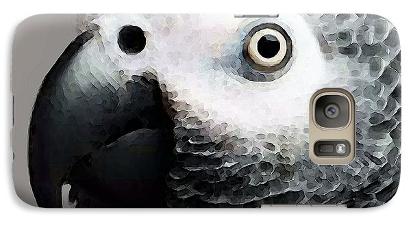 African Gray Parrot Art - Softy Galaxy Case by Sharon Cummings