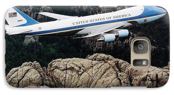 Air Force One Flying Over Mount Rushmore Galaxy S7 Case by War Is Hell Store