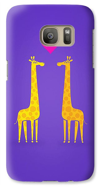 Cute Cartoon Giraffe Couple In Love Purple Edition Galaxy Case by Philipp Rietz