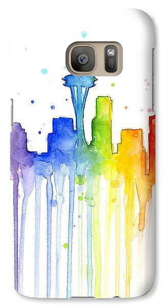 Seattle Rainbow Watercolor Galaxy S7 Case by Olga Shvartsur