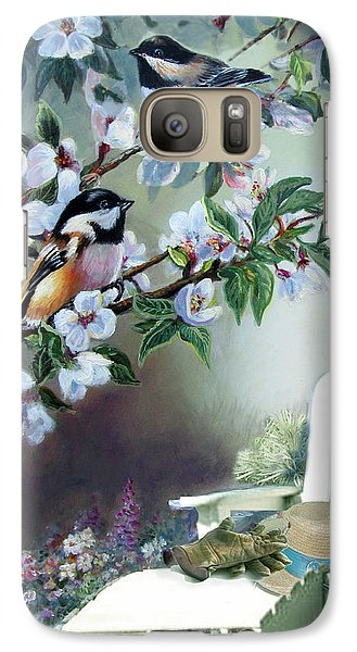 Chickadees In Blossom Tree Galaxy Case by Regina Femrite