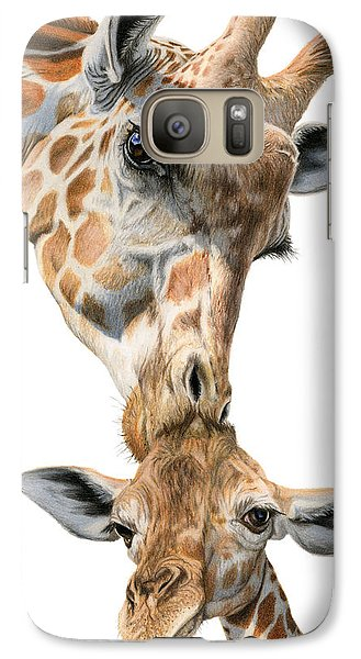 Mother And Baby Giraffe Galaxy Case by Sarah Batalka