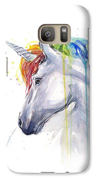 Unicorn Rainbow Watercolor Galaxy S7 Case by Olga Shvartsur