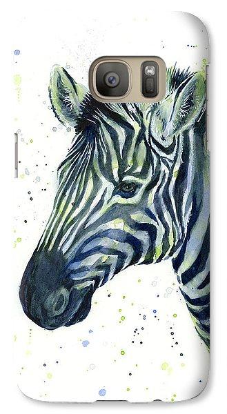 Zebra Watercolor Blue Green  Galaxy Case by Olga Shvartsur