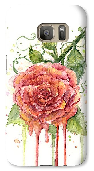 Red Rose Dripping Watercolor  Galaxy S7 Case by Olga Shvartsur