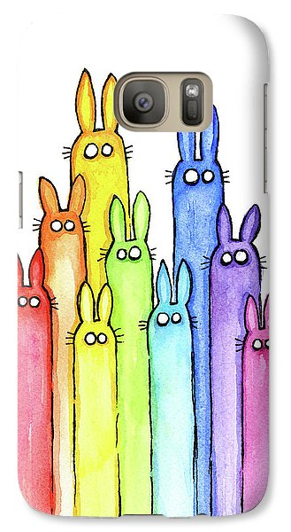 Bunny Rabbits Watercolor Rainbow Galaxy S7 Case by Olga Shvartsur