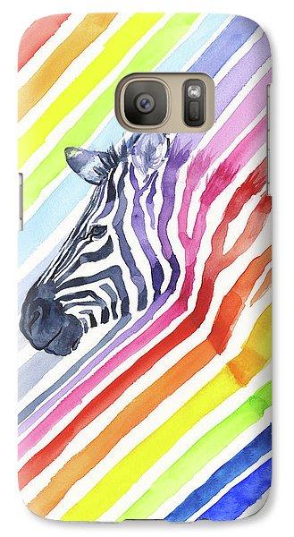 Rainbow Zebra Pattern Galaxy Case by Olga Shvartsur