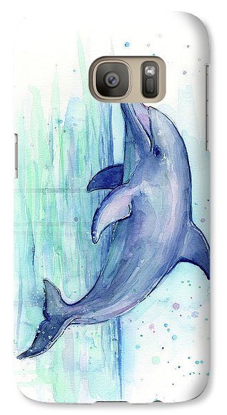 Dolphin Watercolor Galaxy S7 Case by Olga Shvartsur