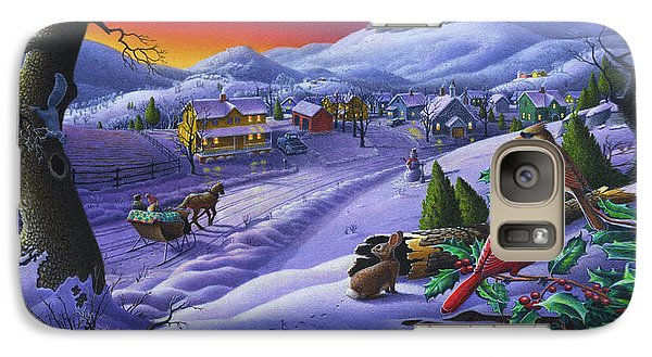 Christmas Sleigh Ride Winter Landscape Oil Painting - Cardinals Country Farm - Small Town Folk Art Galaxy Case by Walt Curlee
