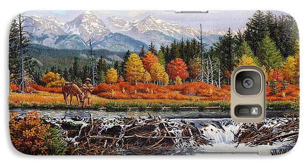Western Mountain Landscape Autumn Mountain Man Trapper Beaver Dam Frontier Americana Oil Painting Galaxy Case by Walt Curlee