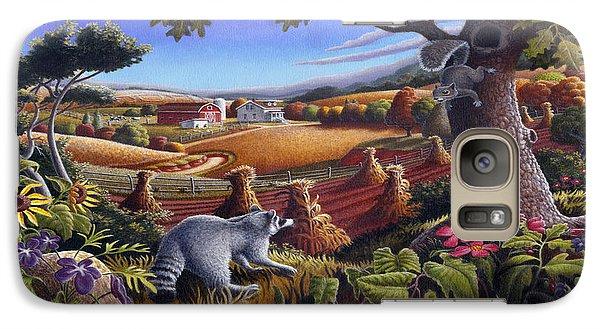 Rural Country Farm Life Landscape Folk Art Raccoon Squirrel Rustic Americana Scene  Galaxy S7 Case by Walt Curlee