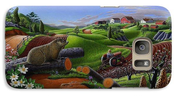 Farm Folk Art - Groundhog Spring Appalachia Landscape - Rural Country Americana - Woodchuck Galaxy S7 Case by Walt Curlee