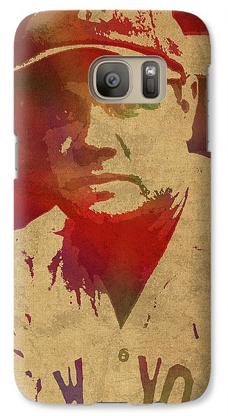 Babe Ruth Baseball Player New York Yankees Vintage Watercolor Portrait On Worn Canvas Galaxy S7 Case by Design Turnpike