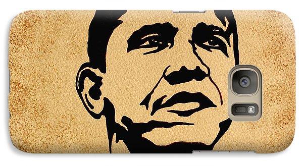 Barack Obama Original Coffee Painting Galaxy S7 Case by Georgeta  Blanaru